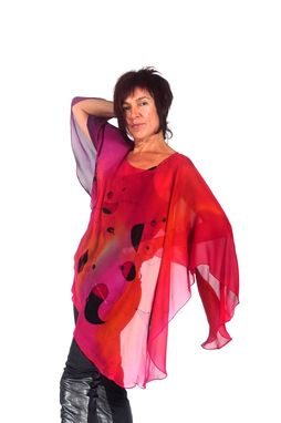 Custom Made Hand Painted Silk Crepe Georgette Poncho, Miro
