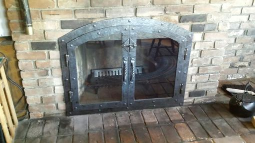 Custom Made Custom Hammered Iron Fireplace Doors Fireplace Screen Twisted Handle