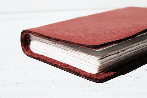 Custom Made Personalized Handmade Red Leather Engraved Bound Journal Watercolor Pocket Art Mini Notebook Diary