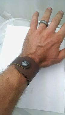 Custom Made Leather Cuff With Custom Snap