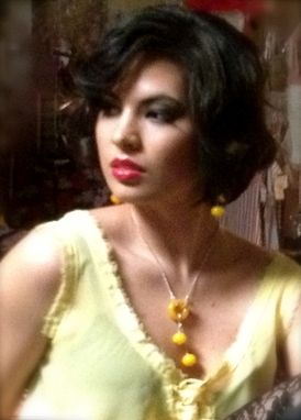 Custom Made Yellow Hollow Glass Earrings And Necklace