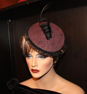 Custom Made Elegant Fascinator - Burgundy Damask With Sinamay Spiral And Ostrich Quill.