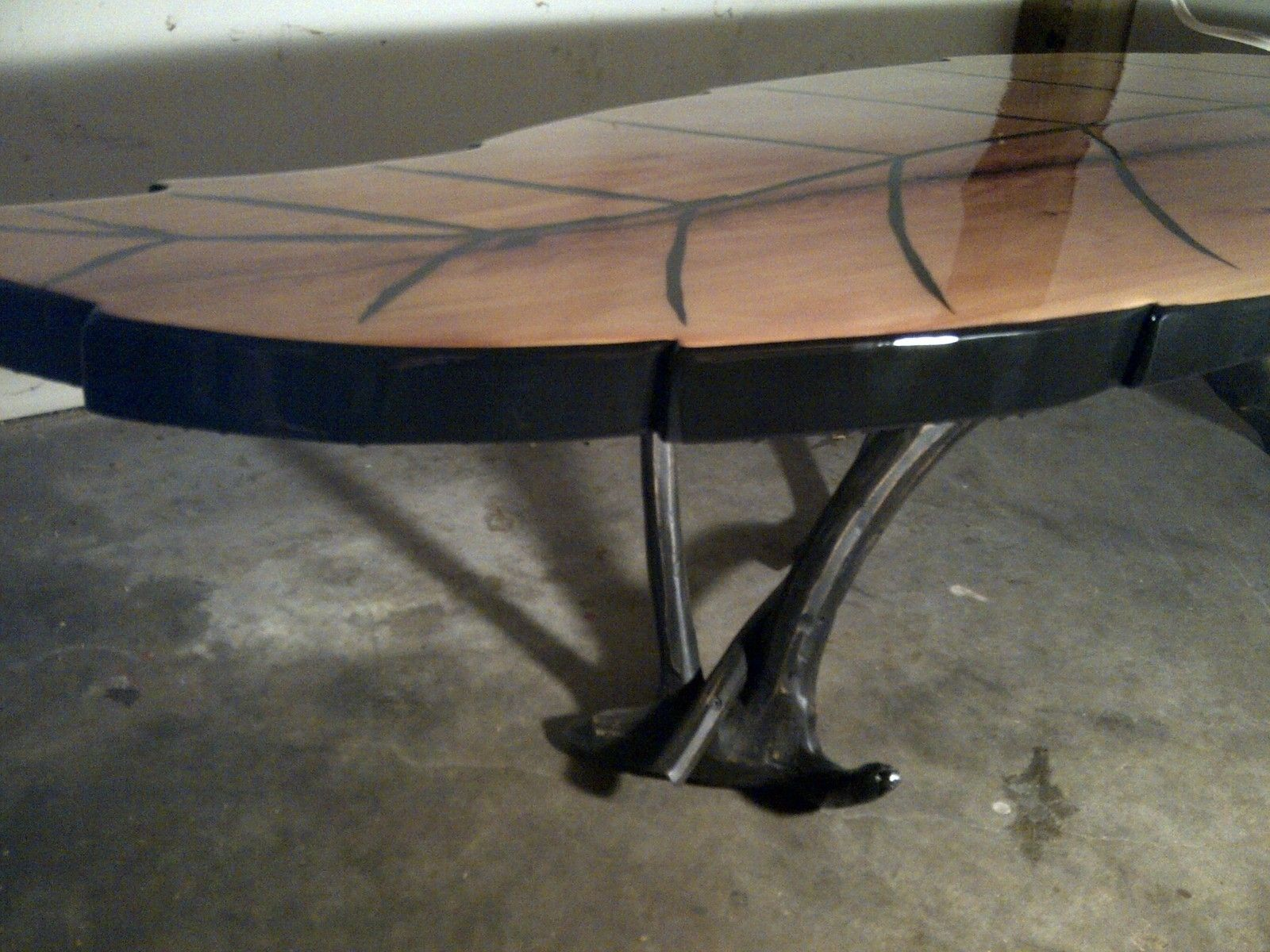 Custom leaf shaped coffee table 2 by rustic wonders for Unique shaped dining tables