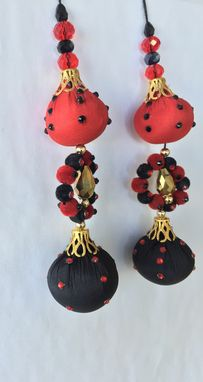 Custom Made Black,Red,Silk Fabric Design With Gold Beads &Stone L- 5' , W- 1'