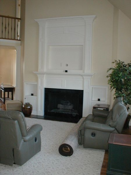 Custom Made Built In Fireplace Mantle For Flat Screen Tv Side