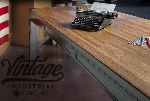 Custom Made Vintage Industrial Executive Computer Desk