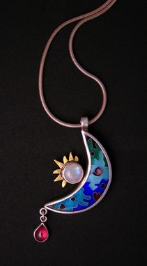 Custom Made Cloisonne Enamel Crescent Moon Necklace