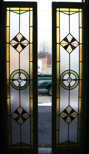 Custom Made Geometric Stained Glass Panels By Cathedral