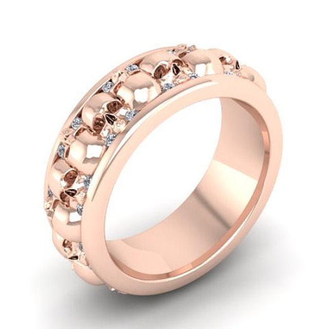 skull wedding ring in rose gold by dr tom raspotnik - Mens Skull Wedding Rings