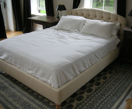 Custom Made Queen Size Tufted Upholstered Headboard, Footboard And Side Rails