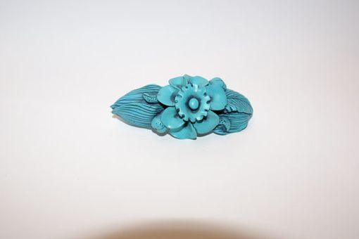 Custom Made Barrette, Hand Sculpted Turquoise Polymer W Black, Large Center Flower