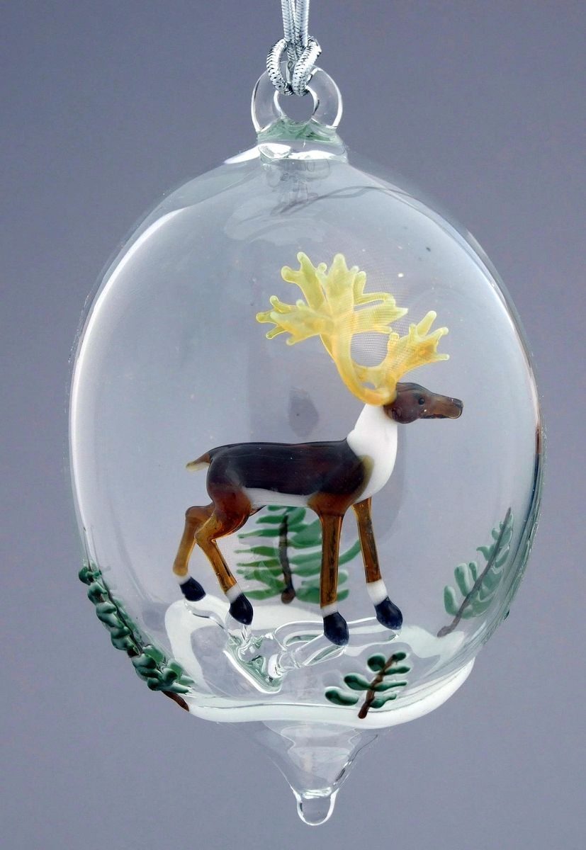 Hand Made Reindeer And Snowy Trees Hand Blown Glass
