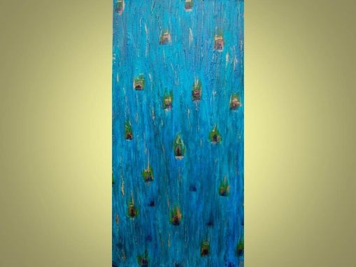 "Custom Made Peacock Original Abstract Painting Large 18""X36"" Blue Turquoise Green Copper"