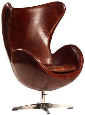 Custom Made Bridgeport Vintage Style Leather Club Chair