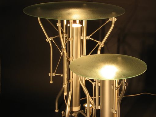Custom Made Custom Industrial Contemporary Eclectic Art Sculpture End Table Light