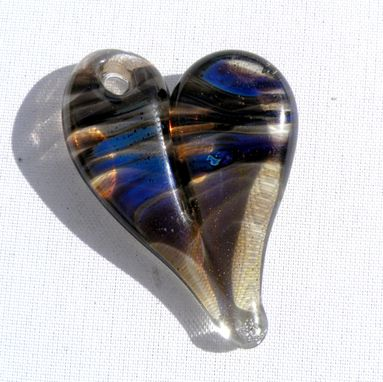 Custom Made Heart Pendant Necklace Glass Jewelry Lampwork Hand Blown Boro Black And Blue