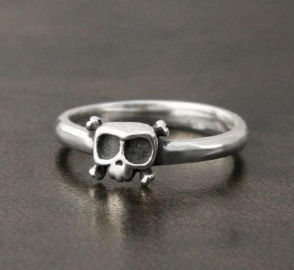 Custom Made Baby Skull Ring 'Louie' - Sterling Silver- 14k Gold - Engagement- Wedding