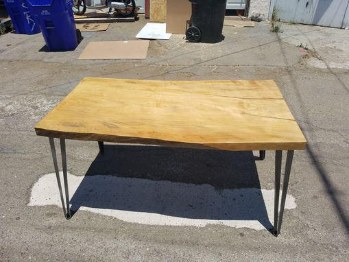 Custom Made Live Edge Torrey Pine And Steel Dining Table