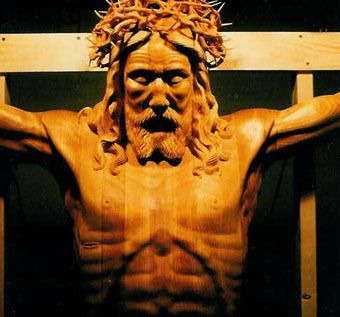 Custom Made Hand Carved Crucifix From Shroud Of Turin