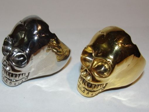 Custom Made 14 Kt Gold Plated Skull Ring