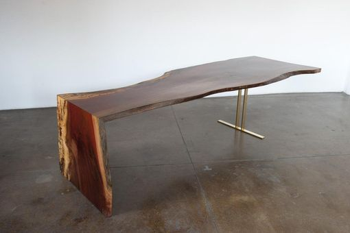 Custom Made Indonesian Ingas Live Edge Waterfall Dining Table W/ Bronze Leg.