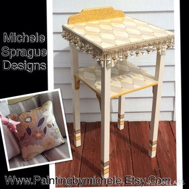 Custom Made Accent Side Table Custom Designed Hand Painted Whimsical Painted Furniture Harlequin Scroll