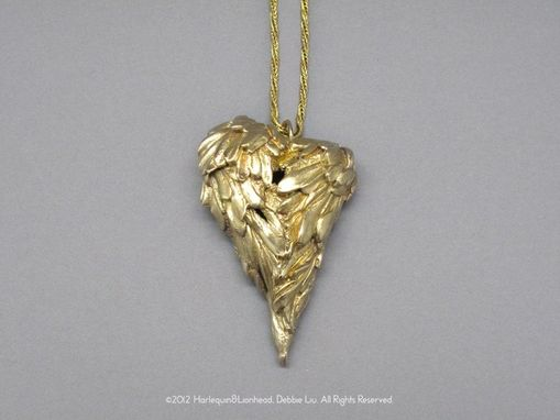 Custom Made Whirls Collection - No. 6 Large Heart Pendant And Necklace (Satin Gold)