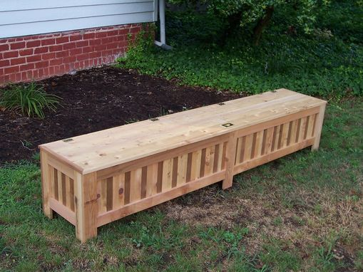 Custom Made Custom Western Red Cedar Patio Storage Bench.