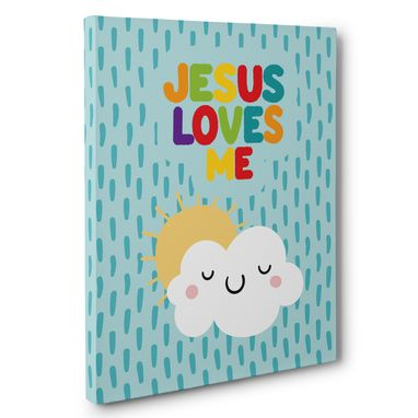 Custom Made Jesus Loves Me Cloud And Sun Canvas Wall Art