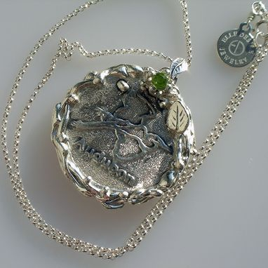 Custom Made Big Silver Pendant Organic And Nature Inspired For Audubon