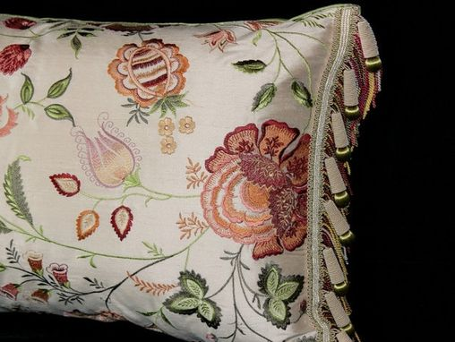Custom Made Chateau: Flower Embroidered Pillow