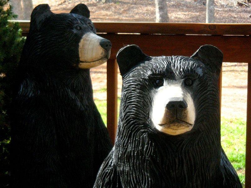 Handmade Black Bear Chainsaw Wood Sculpture By Sleepy