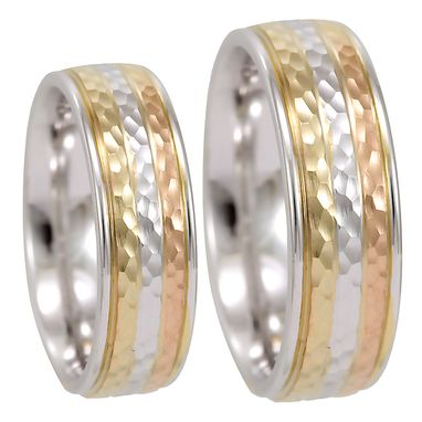 Custom Made Tricolor Hammered Wedding Band In 14k, Comfort Fit Promise Ring