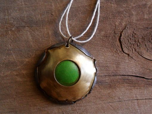 Custom Made Antiqued Brass Necklace With Green Accent