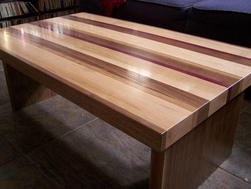 Handmade Striped Coffee Table By American Woodworks