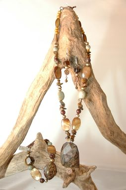 Custom Made Bronzite Pendant With Tiger Eye, Shell, Pearls & Sage Green Jasper With Bracelet And Earrings