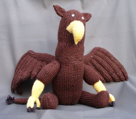 Custom Made Knitted Stuffed Animal - Gryphon