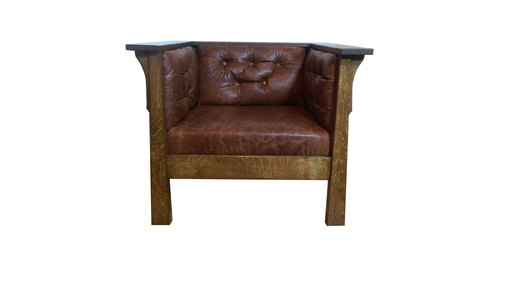 Custom Made Oak And Leather Club Chair