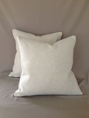 Custom Made Mint And Ivory Woven Cotton Pillow Cover