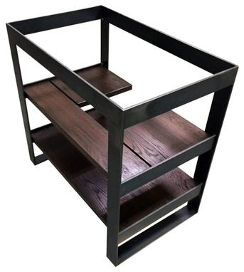 Buy A Hand Crafted Open Frame Steel And Reclaimed Oak Bath