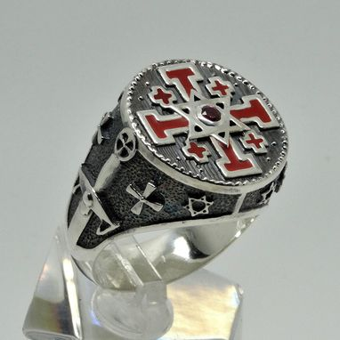 Custom Made Knight Templar Jerusalem Cross Star Of David Handcrafted Sterling Silver 925 Men Ring