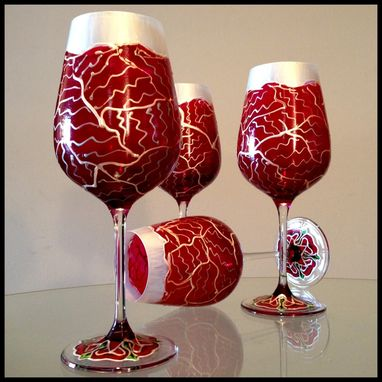Custom Made Hand Painted Wine Glasses. Lenox Crystal Valentine's Day Abstract Design