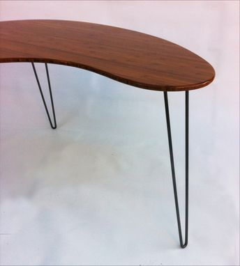 Custom Made Kidney Bean Shaped Modern Desk - Atomic Era Boomerang Design In Caramelized Bamboo