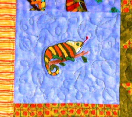 Custom Made Custom Made Chameleons Throw Quilt