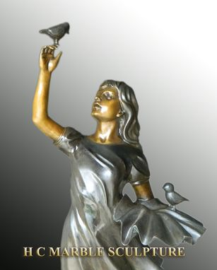 Custom Made Girl W/ Birds Bronze Statue