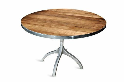 Custom Made Round Steel Strap Walnut Table