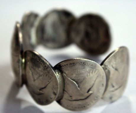 Custom Made Womens Domed Eagle Coin Cuff Bracelet Size 7 (Small)