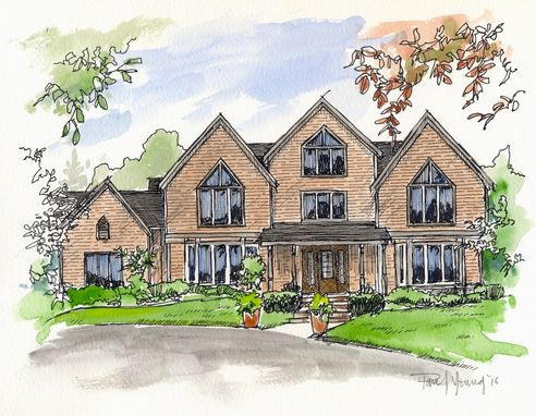 Custom Made 9x12 Custom Pen And Ink/Watercolor Home Portrait