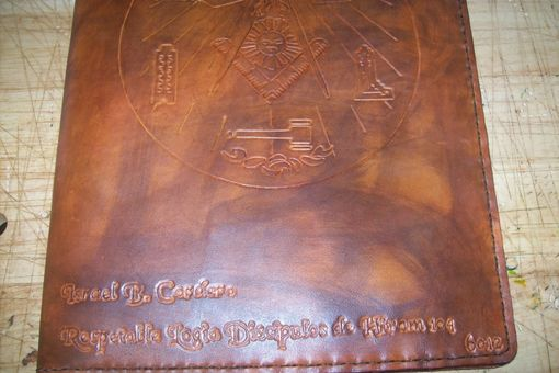 Custom Made Custom Leather Portfolio With Masonic Symbol And Personalization