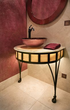Custom Made Tiempo Iron And Onyx Under-Lit Bath Pedestals By Jonathan David™